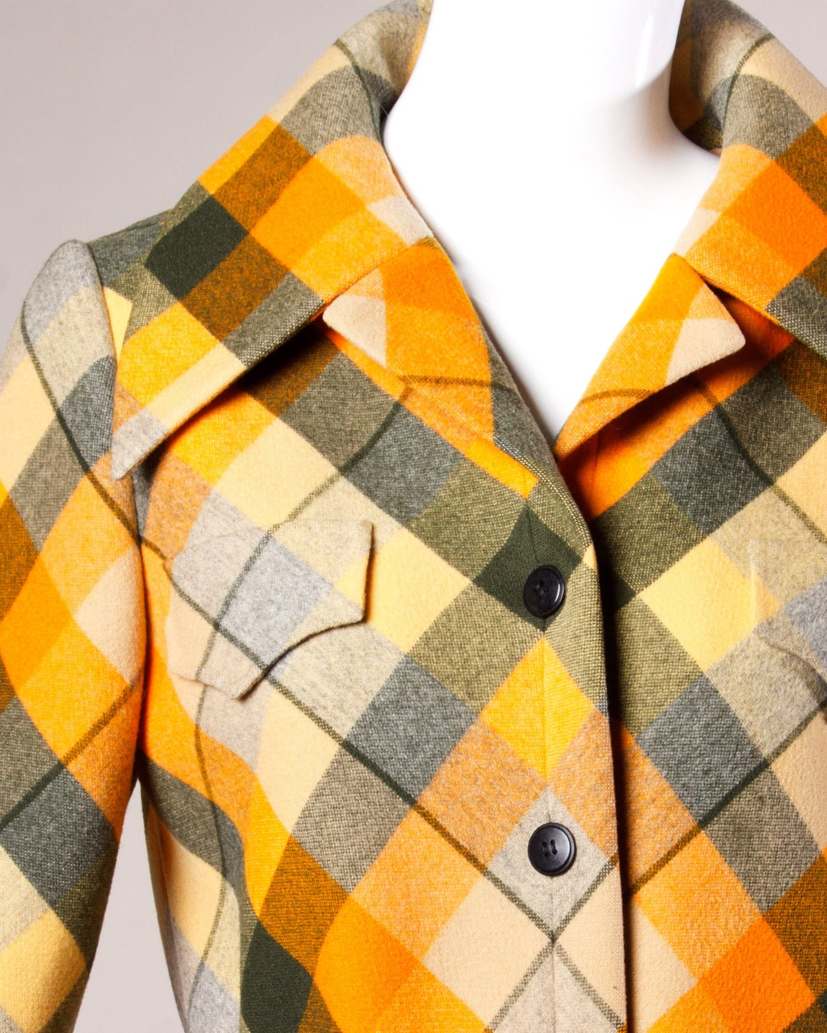 1970s Andre Laug Vintage Plaid Wool Jacket or Coat 2