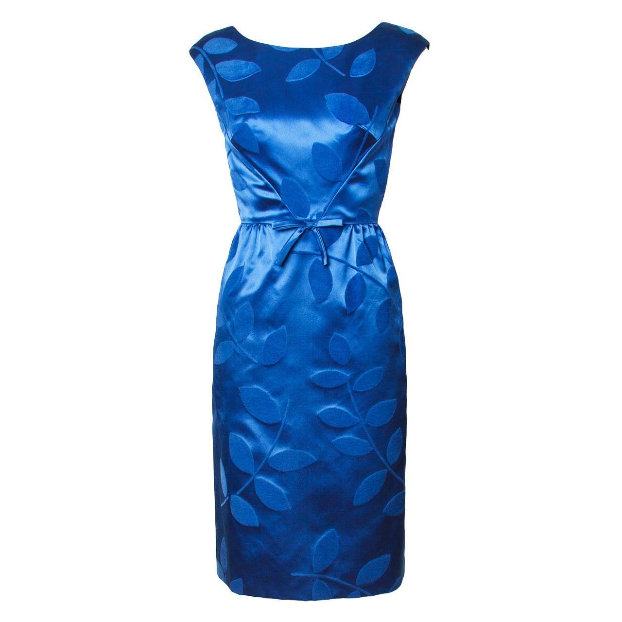 Vintage 1960s Blue Silk Satin Cocktail Dress For Sale