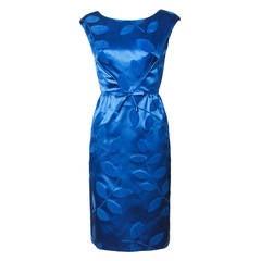 Vintage 1960s Blue Silk Satin Cocktail Dress
