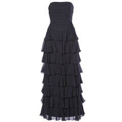Lillie Rubin Vintage Black Tiered Silk Chiffon Strapless Evening Gown