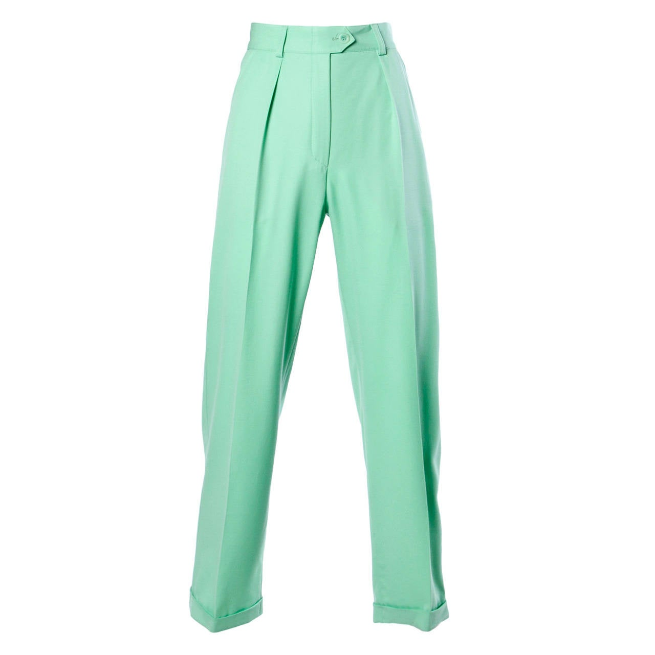 Escada Vintage 1990s 90s Mint Green High Waisted Wool Trousers For Sale