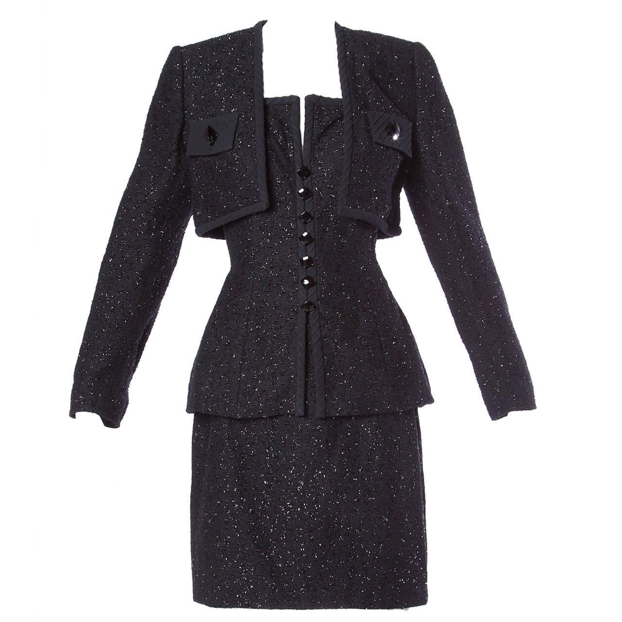 Michael Casey Couture Vintage Sculptural 3-Piece Skirt Suit Ensemble