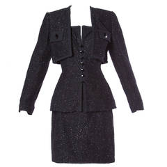 Michael Casey Couture Vintage Sculptural 3-Piece Skirt Suit Ensemble