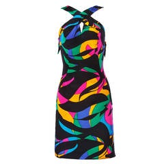 Michael Novarese Vintage 1980s 80s Colorful Silk Print Sheath Dress