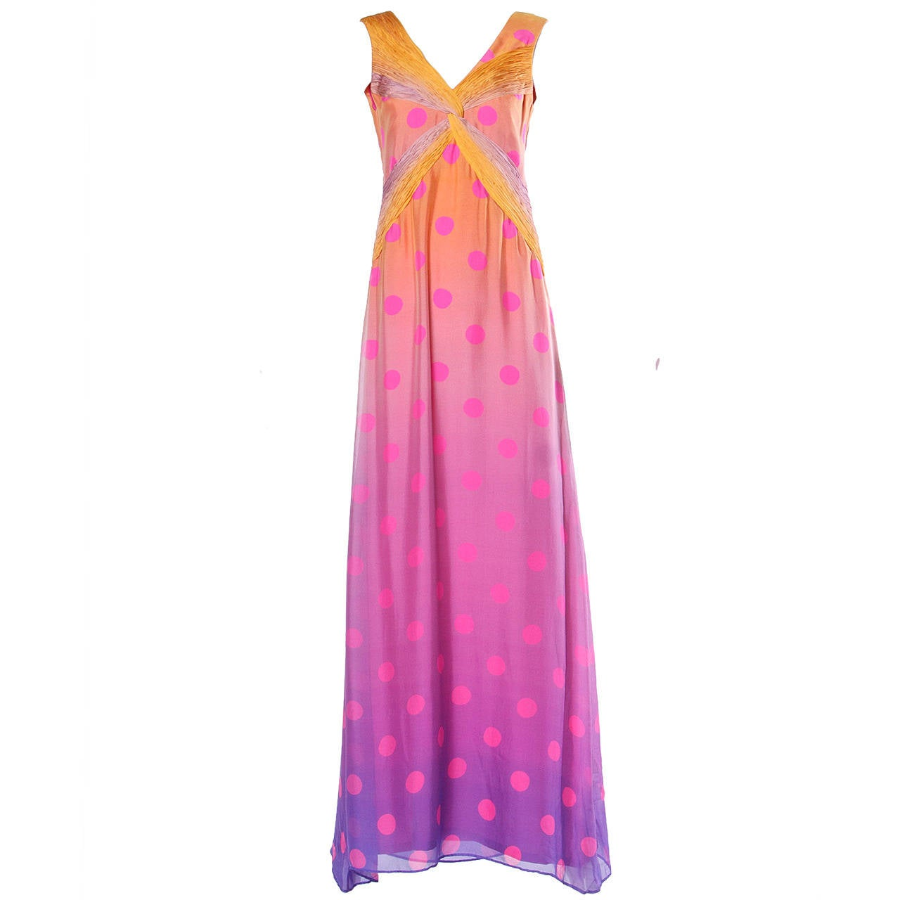 Andre Laug Numbered Couture Vintage Ombre Silk Polka Dots Maxi Dress
