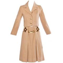 Frances Heffernan Vintage 1970s Camel Hair Jacket + Skirt Suit Ensemble