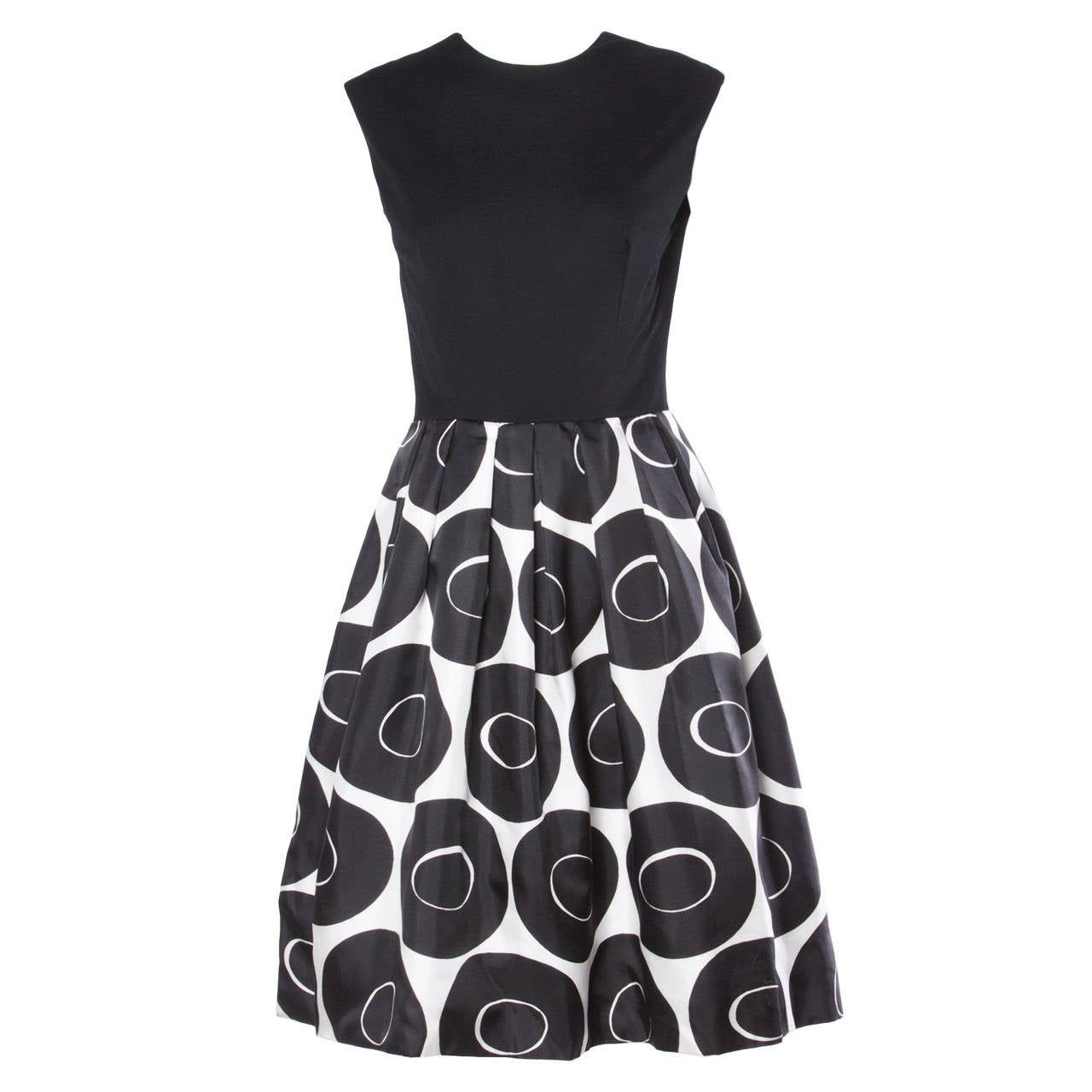 Vintage 1960s Black + White Geometric Print Cocktail Dress 1