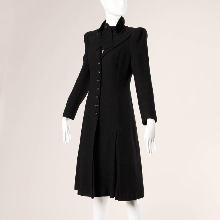 Elegant Vintage 1940s 40s Black Wool Princess Coat with Bold Shoulders 2