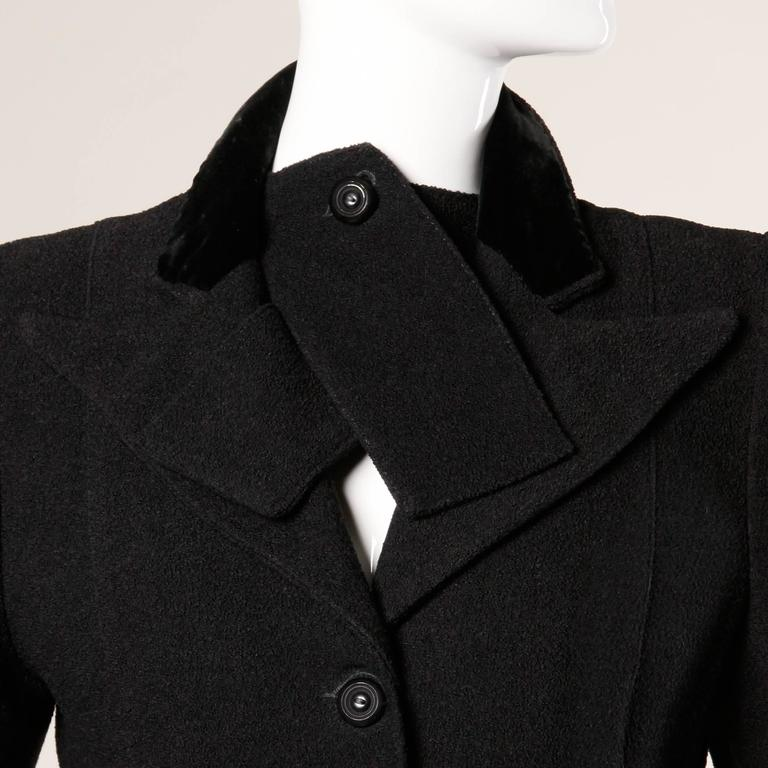 Elegant Vintage 1940s 40s Black Wool Princess Coat with Bold Shoulders 3