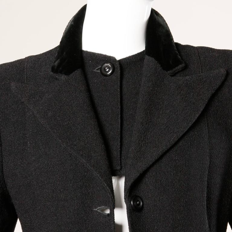 Elegant Vintage 1940s 40s Black Wool Princess Coat with Bold Shoulders 5