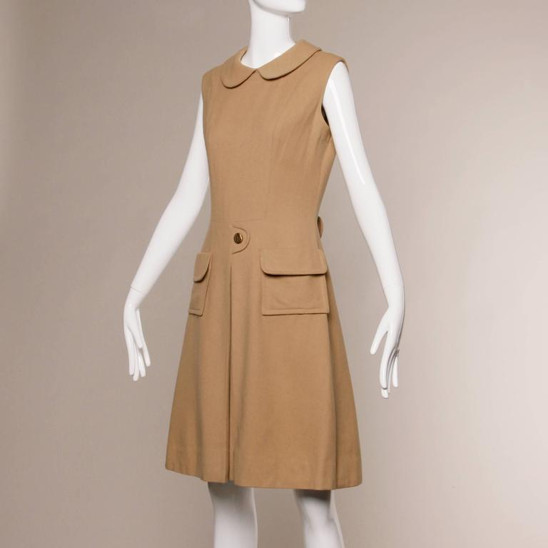 1960s Vintage Camel Wool Mod Dress with Peter Pan Collar and Kick Pleat 2