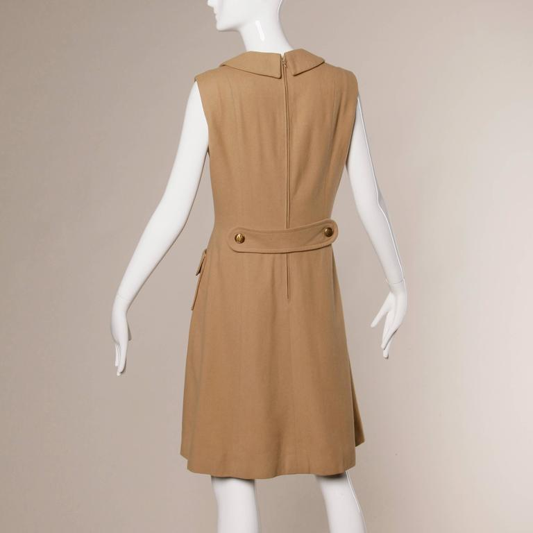 1960s Vintage Camel Wool Mod Dress with Peter Pan Collar and Kick Pleat 6