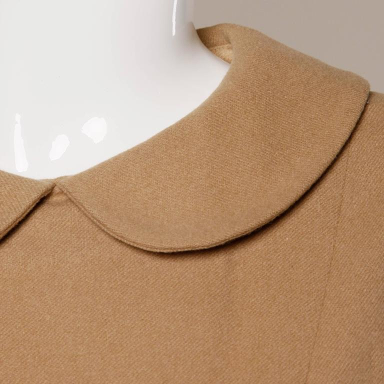 1960s Vintage Camel Wool Mod Dress with Peter Pan Collar and Kick Pleat 5