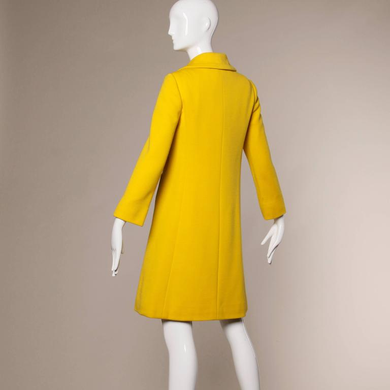 1960s Mod 2 Piece Vintage Yellow Wool Shift Dress And Coat
