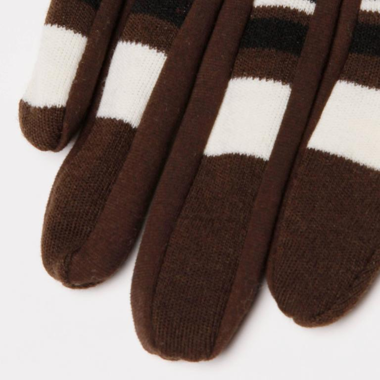1960s Pierre Cardin Brown Black Striped Wool Gloves with Vinyl Trim 7