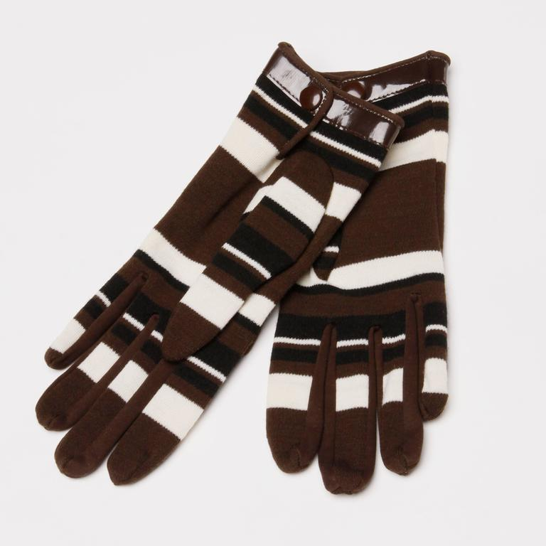 1960s Pierre Cardin Brown Black Striped Wool Gloves with Vinyl Trim For Sale 2
