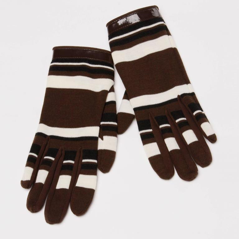 Women's 1960s Pierre Cardin Brown Black Striped Wool Gloves with Vinyl Trim For Sale