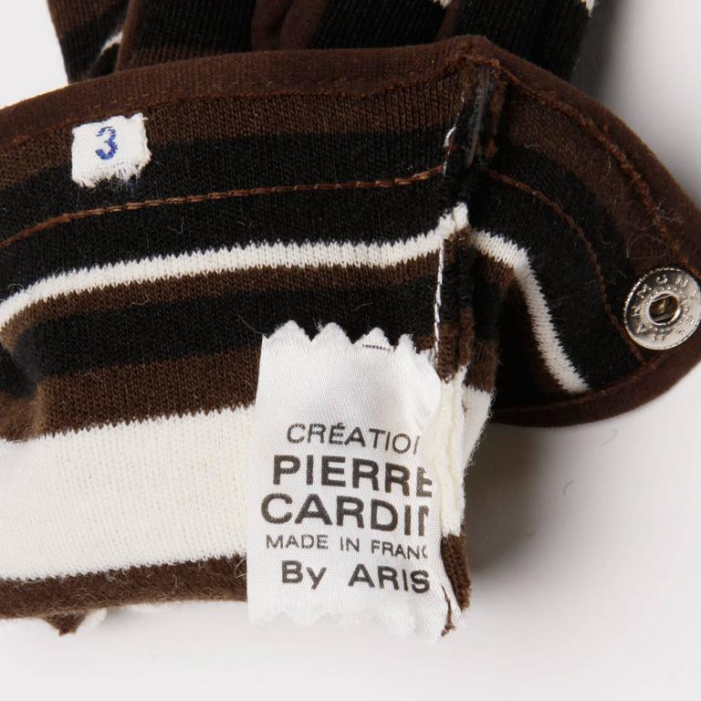 1960s Pierre Cardin Brown Black Striped Wool Gloves with Vinyl Trim In Excellent Condition For Sale In Sparks, NV