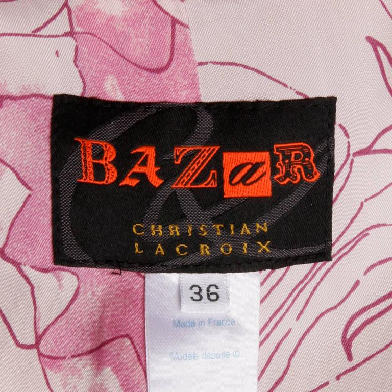 Brown Christian Lacroix Vintage Neon Striped Paint Splash Coat with Belt For Sale