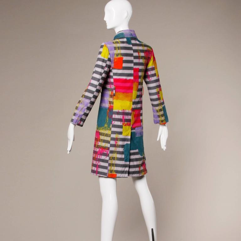 Women's Christian Lacroix Vintage Neon Striped Paint Splash Coat with Belt For Sale