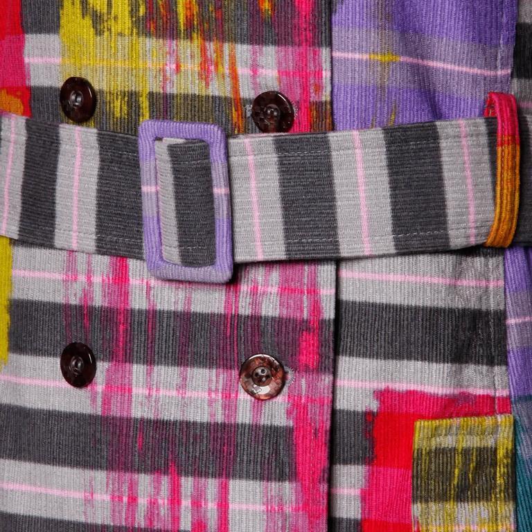 Christian Lacroix Vintage Neon Striped Paint Splash Coat with Belt For Sale 1
