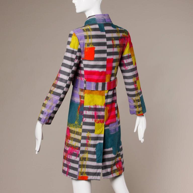 Christian Lacroix Vintage Neon Striped Paint Splash Coat with Belt For Sale 2
