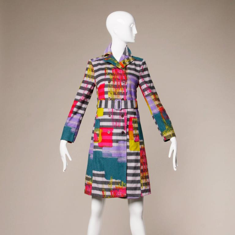 Christian Lacroix Vintage Neon Striped Paint Splash Coat with Belt In Excellent Condition For Sale In Sparks, NV