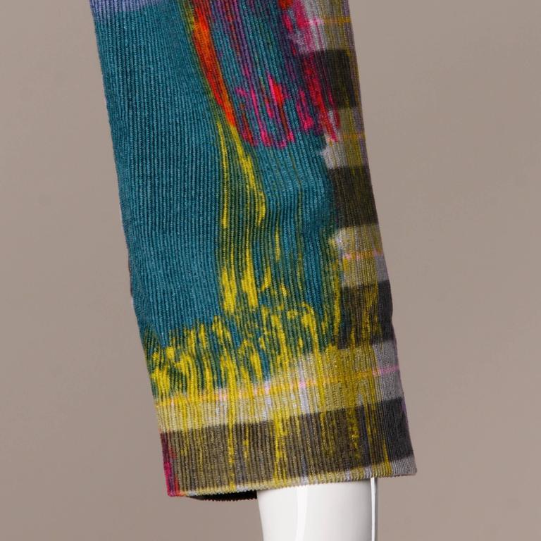 Christian Lacroix Vintage Neon Striped Paint Splash Coat with Belt For Sale 3