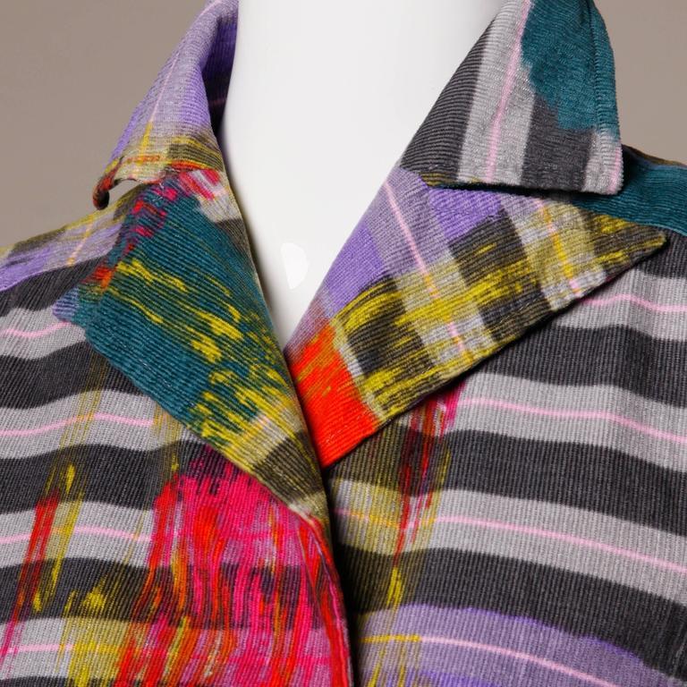 Christian Lacroix Vintage Neon Striped Paint Splash Coat with Belt For Sale 4