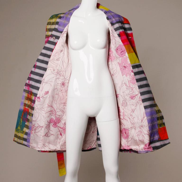 Christian Lacroix Vintage Neon Striped Paint Splash Coat with Belt For Sale 5
