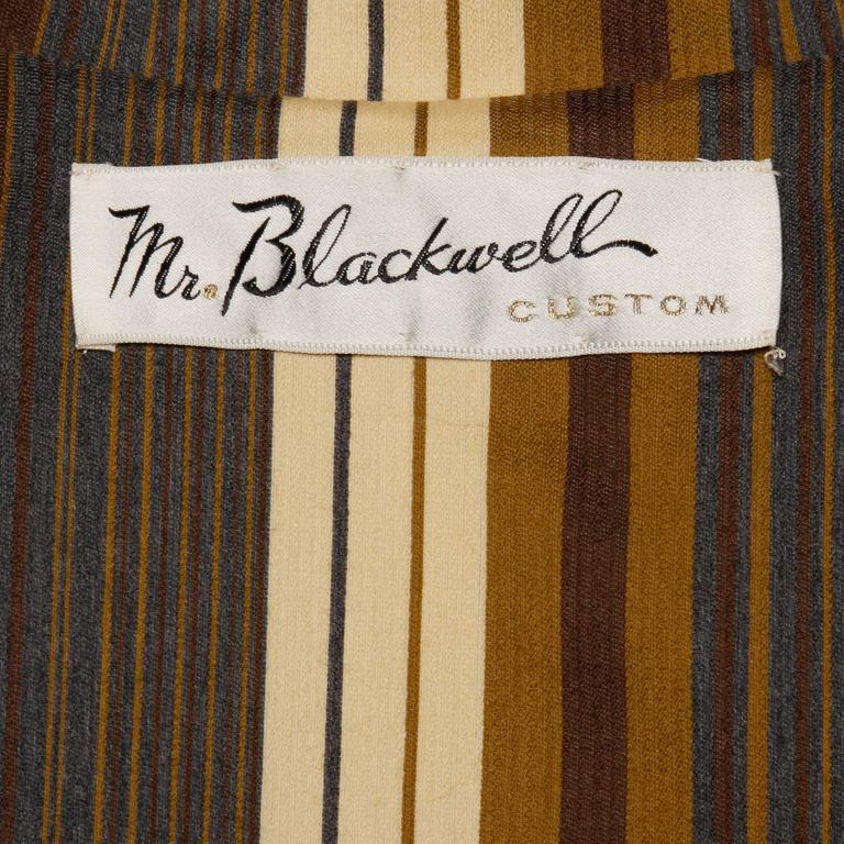 Stunning Mr. Blackwell Vintage 1960s Wool + Silk Cape Coat with Striped Lining In Excellent Condition For Sale In Sparks, NV
