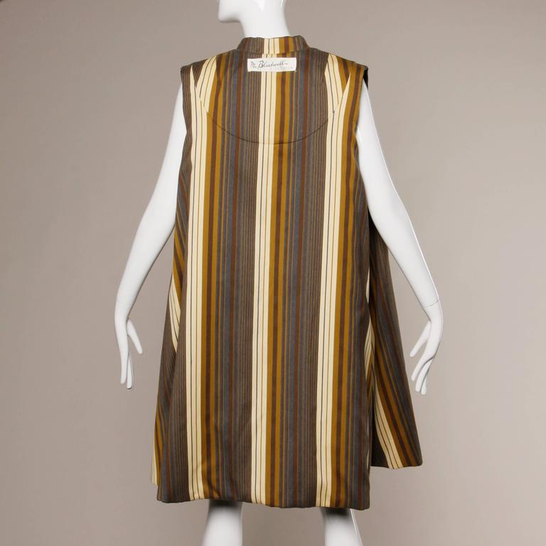 Stunning Mr. Blackwell Vintage 1960s Wool + Silk Cape Coat with Striped Lining For Sale 1