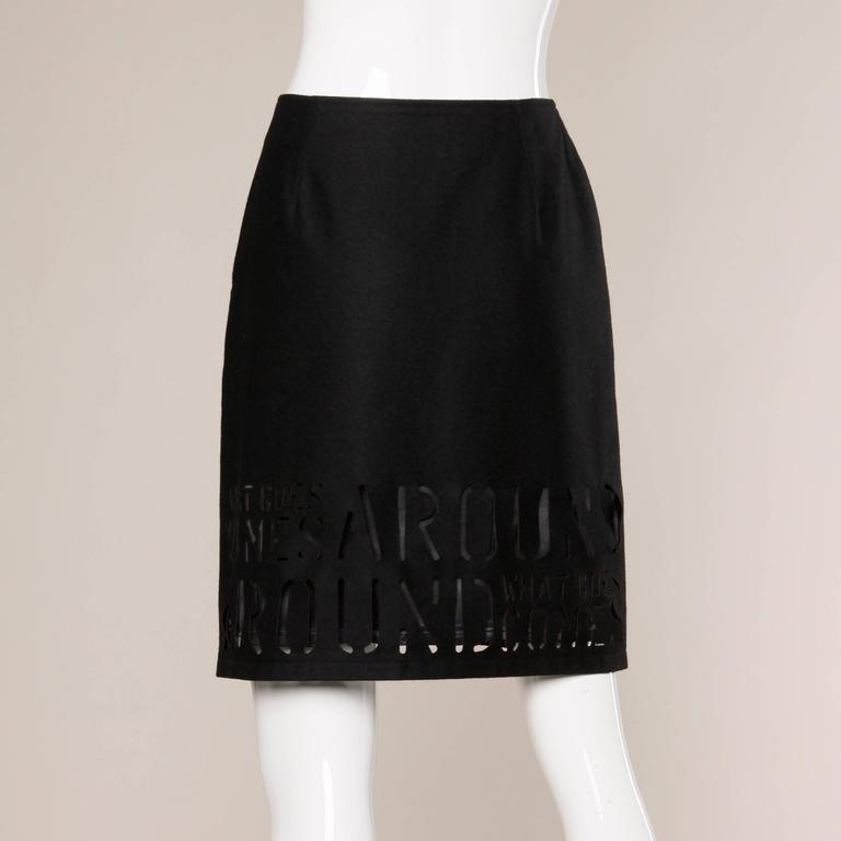 """Women's Moschino Vintage """"What Goes Around Comes Around"""" Black Cut Out Letters Skirt For Sale"""