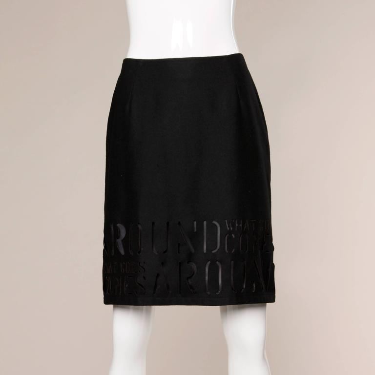 """Moschino Vintage """"What Goes Around Comes Around"""" Black Cut Out Letters Skirt For Sale 1"""