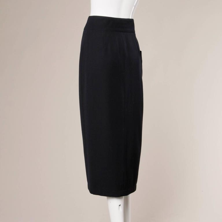 Claude Montana Vintage Navy Blue Wool Avant Garde Asymmetric Pleated Skirt  For Sale 1