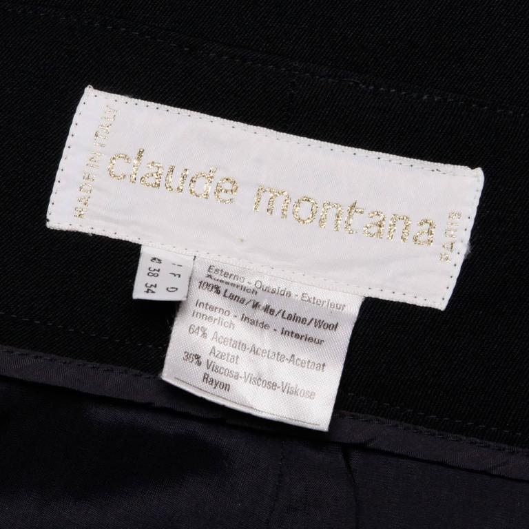 Black Claude Montana Vintage Navy Blue Wool Avant Garde Asymmetric Pleated Skirt  For Sale
