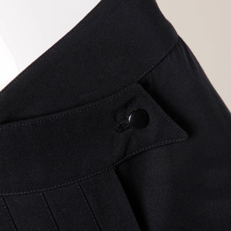 Women's Claude Montana Vintage Navy Blue Wool Avant Garde Asymmetric Pleated Skirt  For Sale