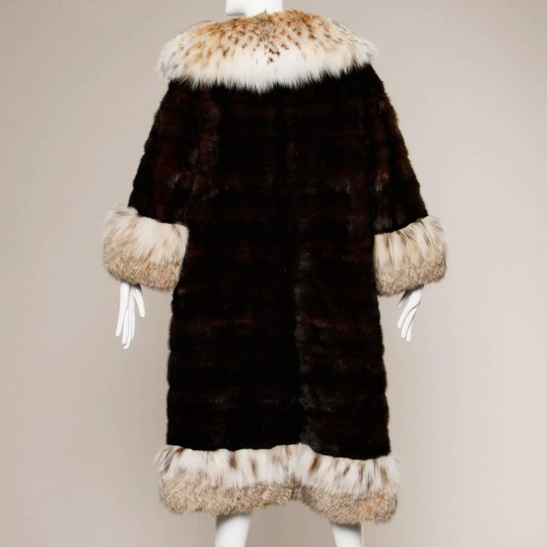 Spectacular Vintage Lynx + Mahogany Mink Fur Coat with Giant Pop Up Collar 5