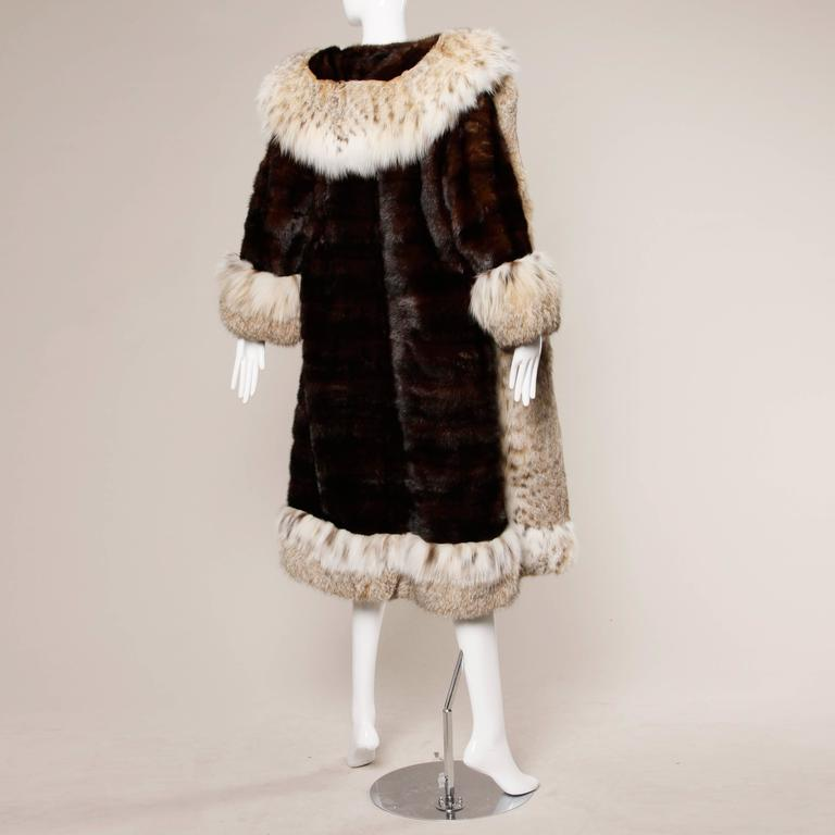 Spectacular Vintage Lynx + Mahogany Mink Fur Coat with Giant Pop Up Collar 4