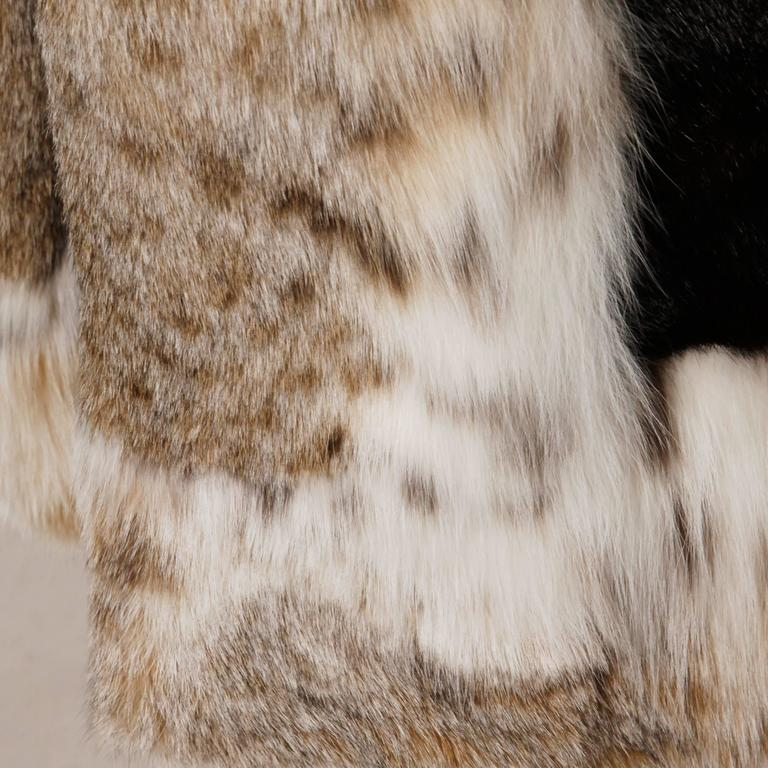 Spectacular Vintage Lynx + Mahogany Mink Fur Coat with Giant Pop Up Collar 6