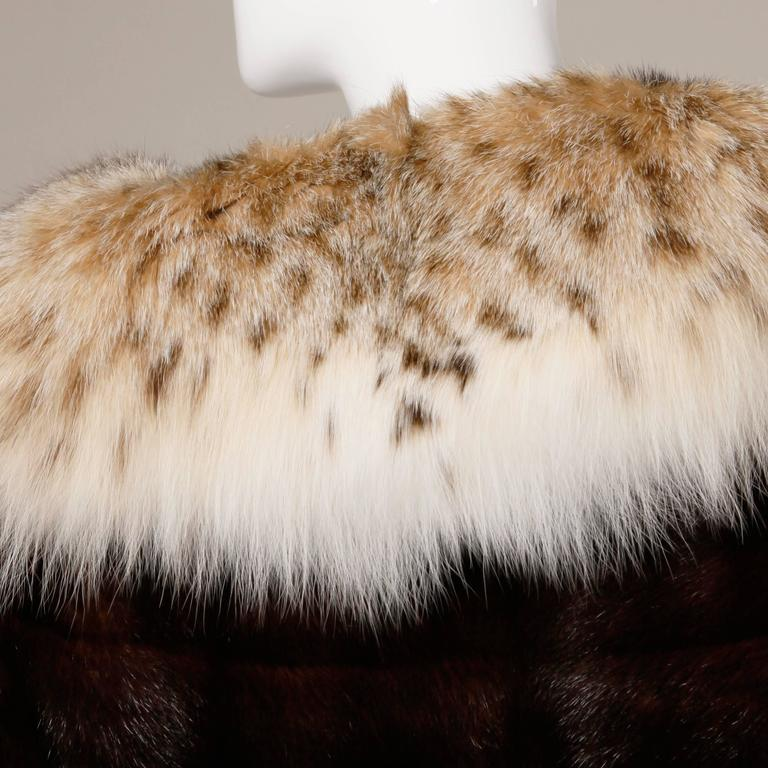 Spectacular Vintage Lynx + Mahogany Mink Fur Coat with Giant Pop Up Collar 3