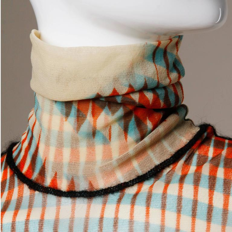 Iconic Jean Paul Gaultier Sheer Mesh 3-D Optical Illusion Face Turtle Neck Top 5