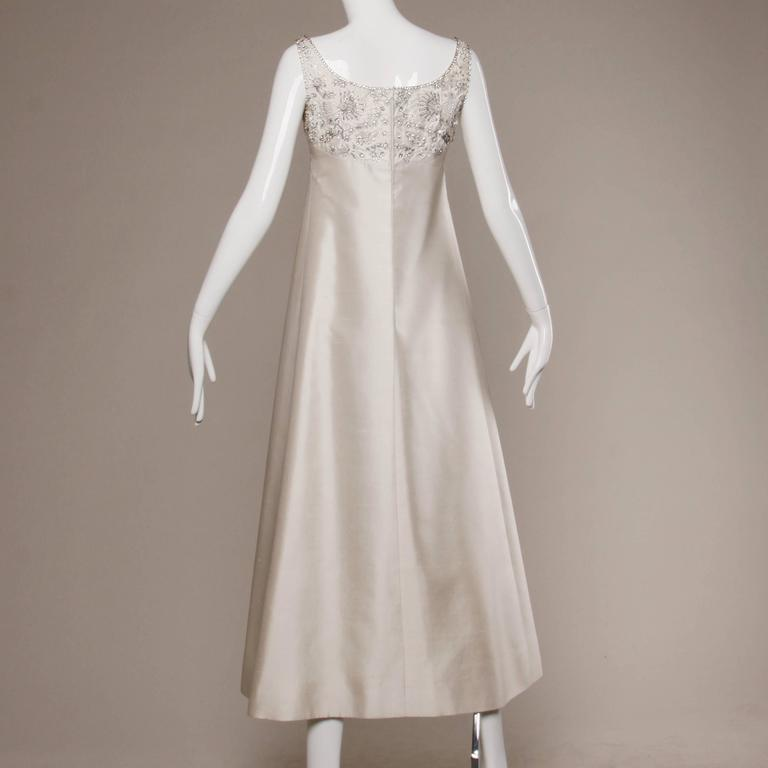 Silk Shantung  White Beaded Sequin and Rhinestone Vintage Formal Gown, 1960s For Sale 1