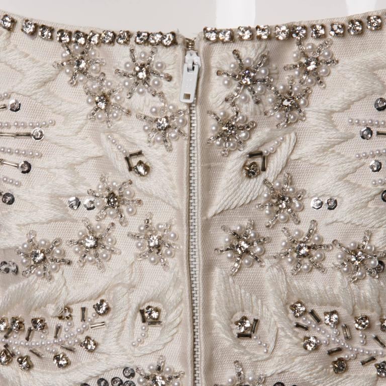 Silk Shantung White Beaded Sequin And Rhinestone Vintage