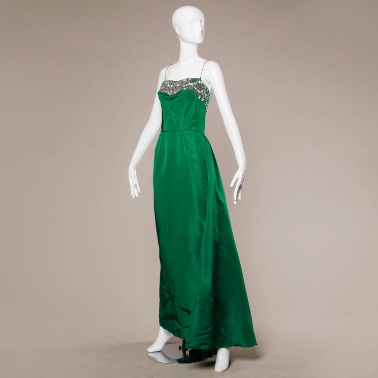 Stunning 1950s Vintage Beaded Sequin Green Silk Gown with Huge Train 4