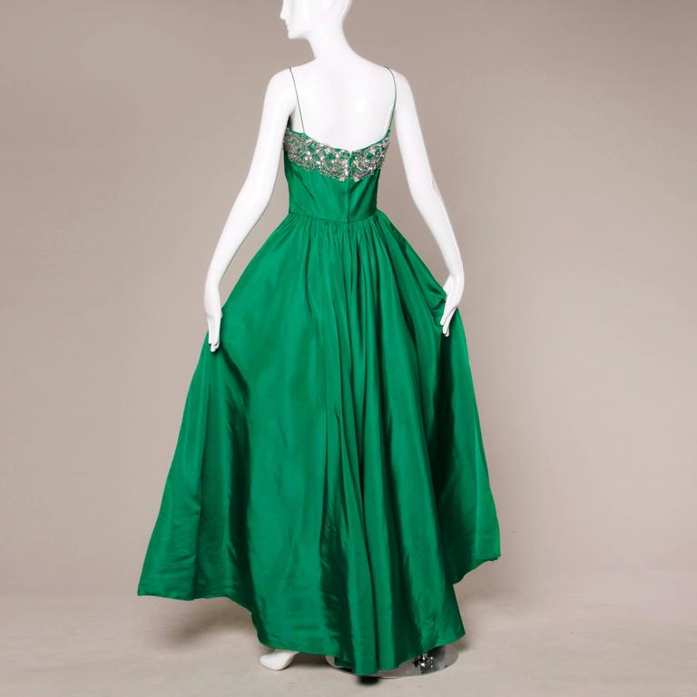 Stunning 1950s Vintage Beaded Sequin Green Silk Gown with Huge Train 6