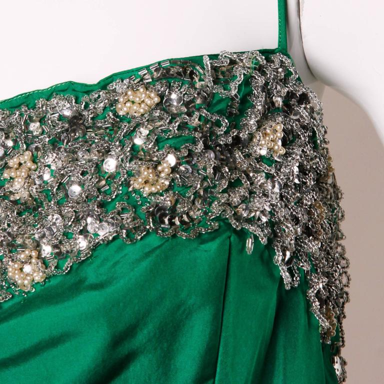 Stunning 1950s Vintage Beaded Sequin Green Silk Gown with Huge Train 5