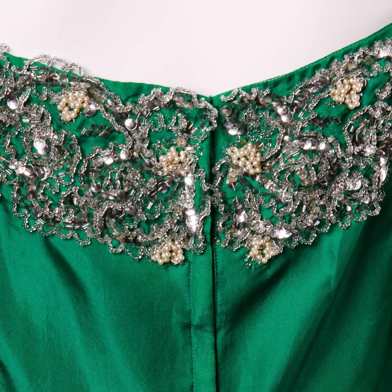Stunning 1950s Vintage Beaded Sequin Green Silk Gown with Huge Train 3