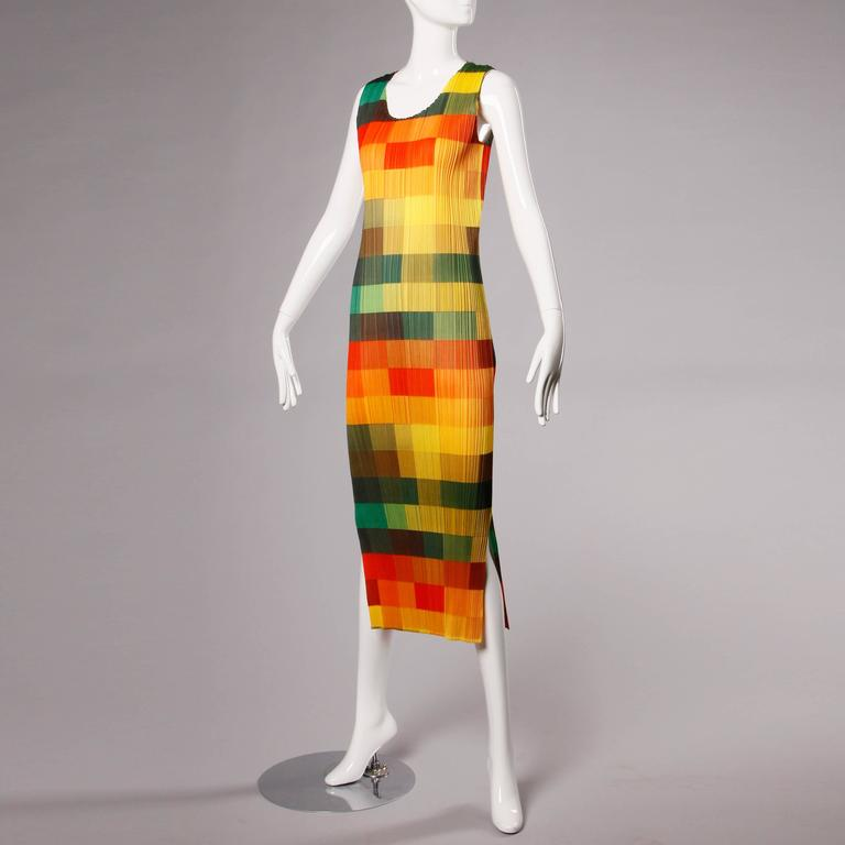 Orange Issey Miyake Pleats Please Avant Garde Checkered Maxi Dress with Side Slits For Sale