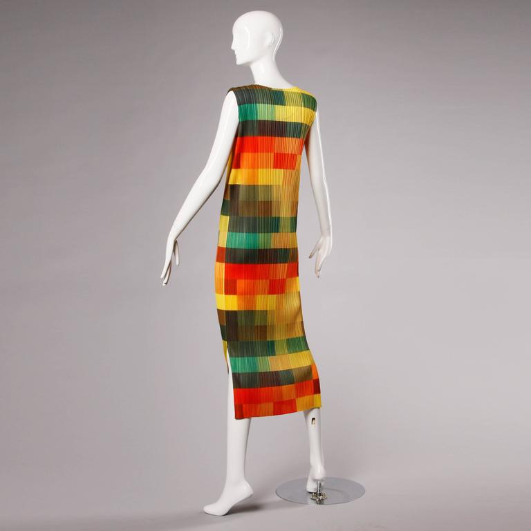 Women's Issey Miyake Pleats Please Avant Garde Checkered Maxi Dress with Side Slits For Sale